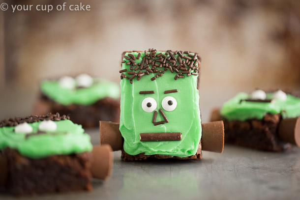 Frankenstein Brownies that are cute and easy to make for Halloween