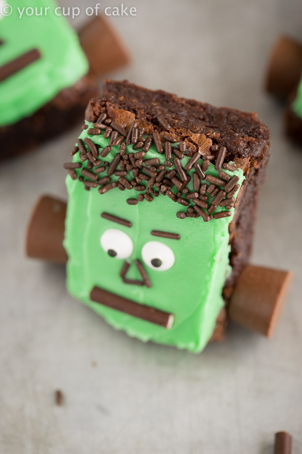 Halloween Frankenstein Brownies that are perfect for kids