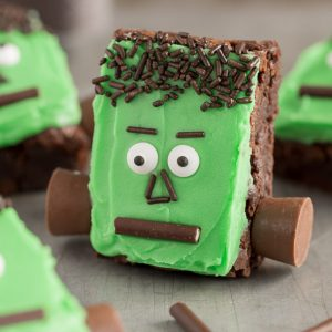 Frankenstein Brownies with rolos and sprinkles