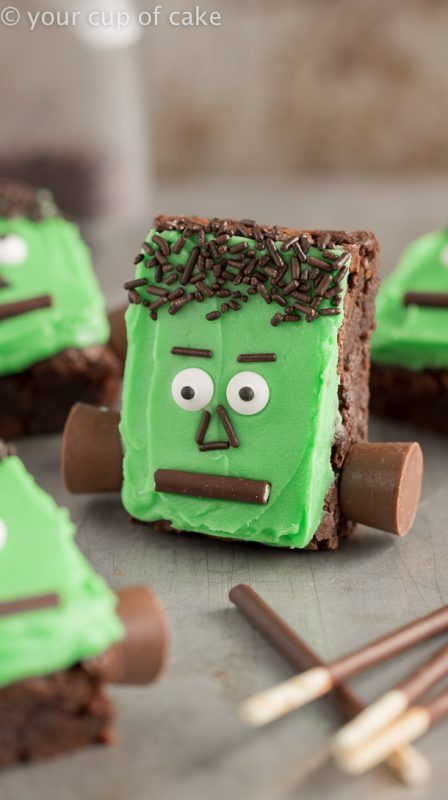 Frankenstein Brownies that are ALMOST too cute to eat!