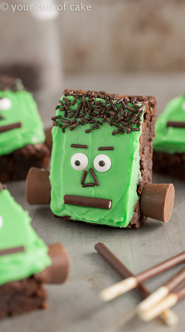 Frankenstein Brownies with rolos and sprinkles