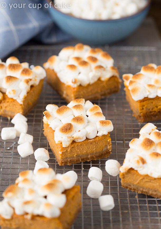Sweet Potato Pie Bars with toasted marshmallows on top! Yum! This recipe is so good!