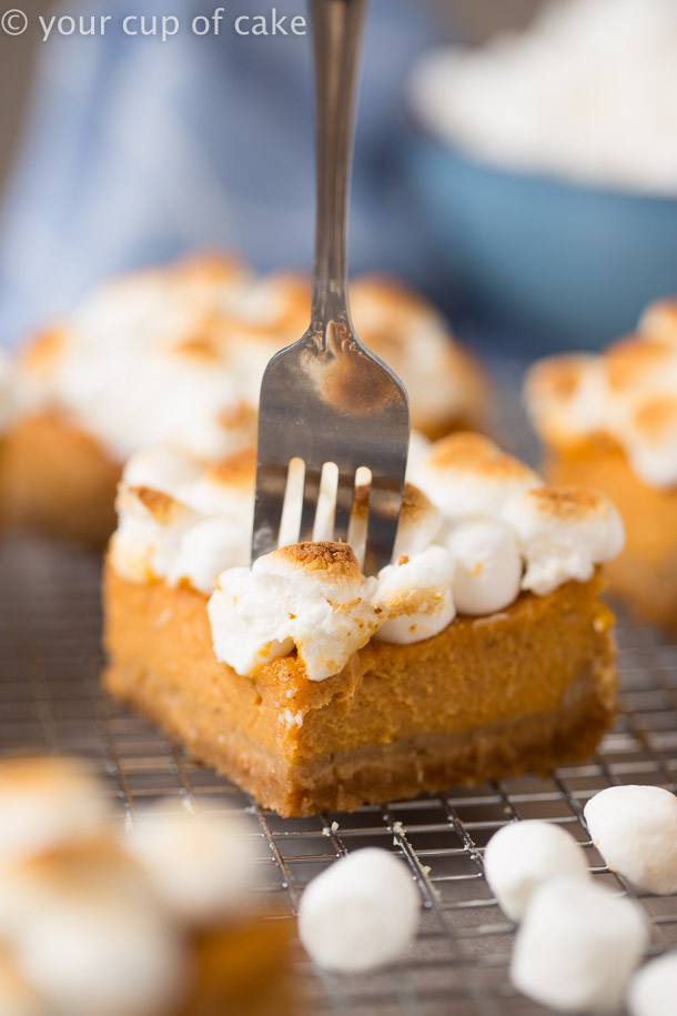Perfect Sweet Potato Pie Bars with A graham cracker crust and toasted marshmallows on top!