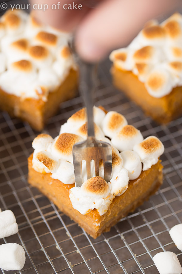 Sweet Potato Pie Bars with toasted marshmallows