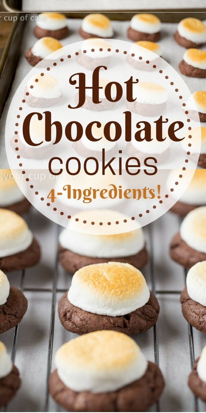 OBSESSED with these 4 Ingredient Hot Chocolate Cookies! The marshmallow gets all gooey and everyone begs for this recipe!