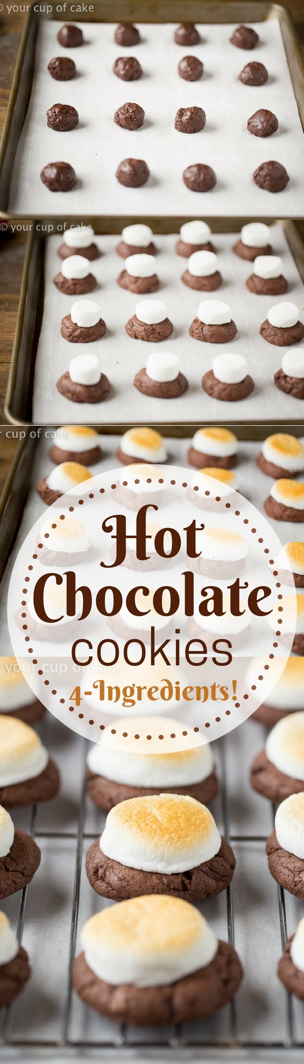 Hot Chocolate Cookies only take 4 Ingredients to make! LOVE the toasted marshmallows on top!