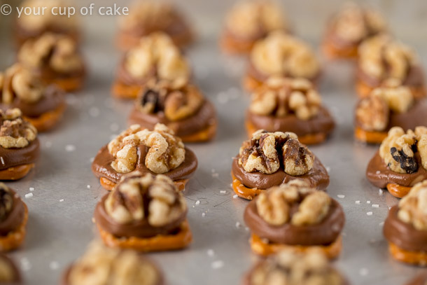 Sweet and Salty Walnut Bites, Rolo Walnut Pretzels are the PERFECT and easiest treat to make!