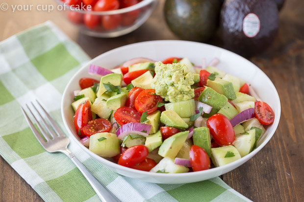 Avocado Tomato and Cucumber salad, my favorite summer salad recipe