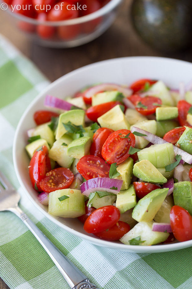 Quick and Easy to make Avocado, Cucumber and Tomato Salad