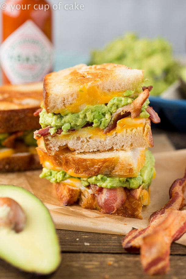 Bacon Avocado Grilled Cheese Sandwich - Your Cup of Cake