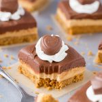 Chocolate Peanut Butter No-Bake Cheesecake Bars