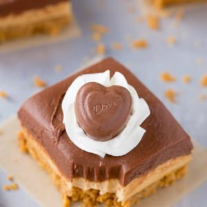 Chocolate Peanut Butter No-Bake Cheesecake Bars for Valentines Day