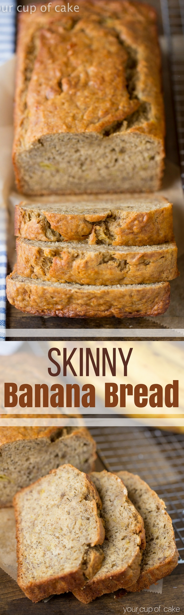 Skinny Banana Bread recipe with low sugar and low fat! I LOVE this recipe!