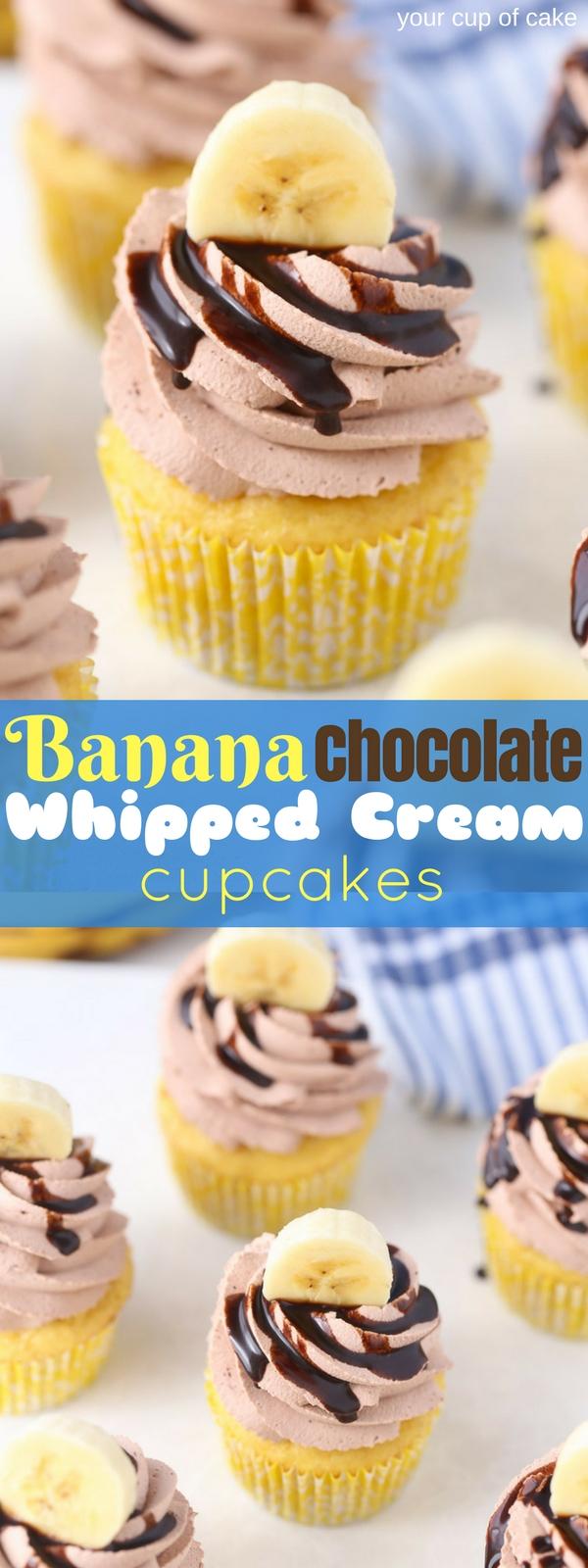 Banana Chocolate Whipped Cream Cupcakes