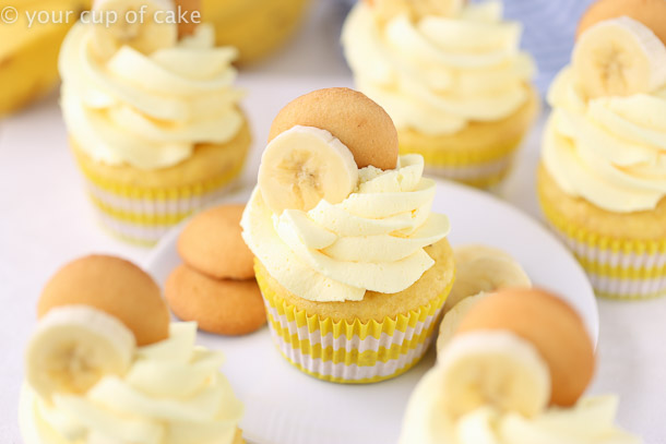 Easy Banana Cream Cupcakes with fluffy whipped cream frosting