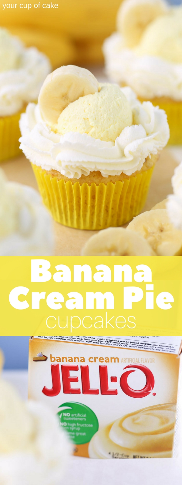 Banana Pudding Cream Pie Cupcakes, yum! Love this easy recipe!