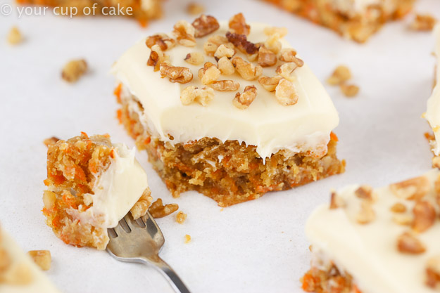 Carrot Cake Blondie Bars with thick cream cheese frosting