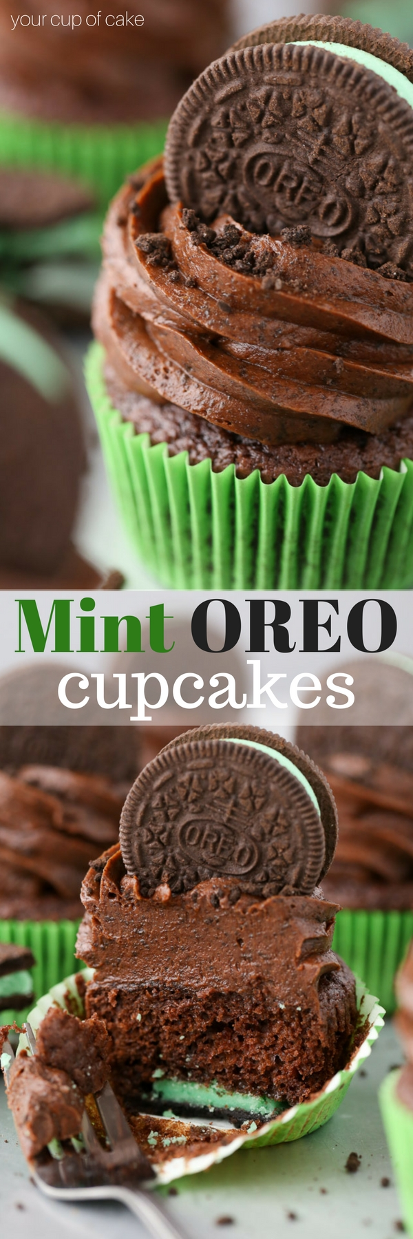 Mint OREO Cupcakes with an Oreo baked on the bottom! And Oreo Cookie frosting!