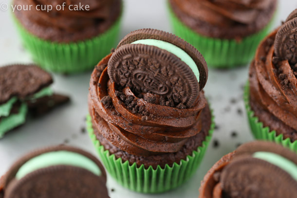 Ultimate Mint OREO Cupcakes with an Oreo baked on the bottom!
