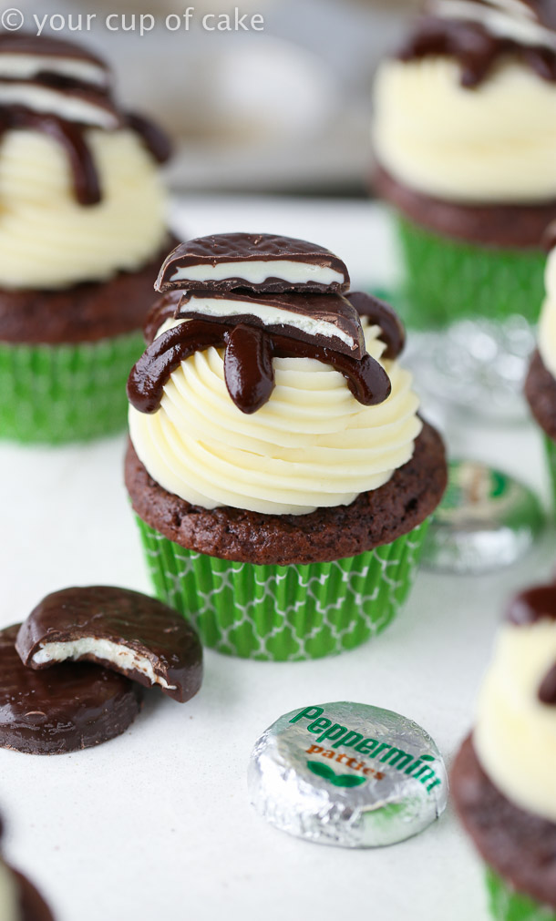 Peppermint Pattie Cupcakes with chocolate ganache