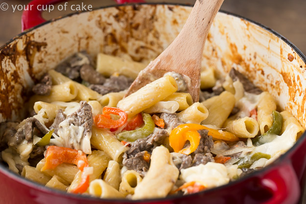 Philly Cheesesteak Pasta is an easy dinner recipe