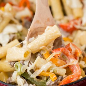 Philly Cheesesteak Rigatoni Pasta (easy dinner recipe)