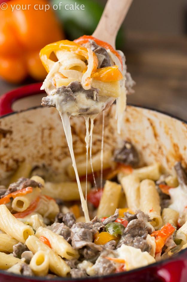 Philly Cheesesteak Rigatoni Pasta