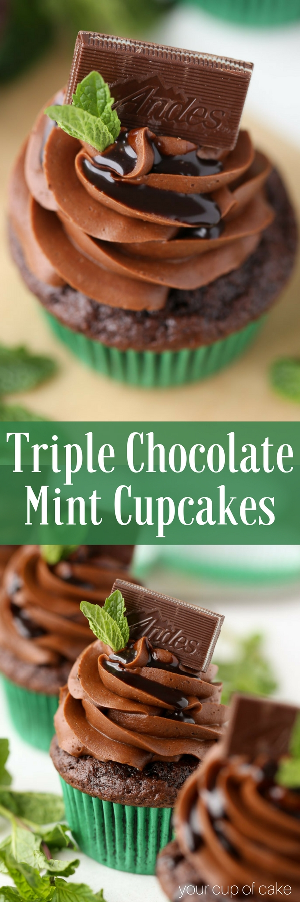 Triple Chocolate Mint Cupcakes with Andes Mints! This recipe is super easy and quick to make!