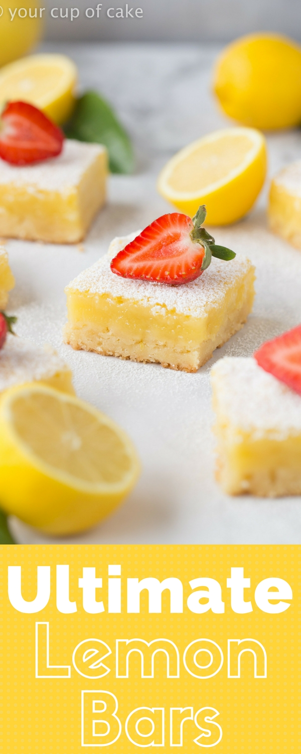 Ultimate Lemon Bars that are easy to make and will disappear at any party! This recipe is the best!