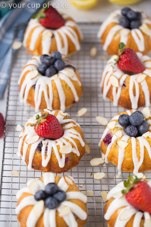 Ultimate Lemon Blueberry Bundt Cakes with Almond Glaze!