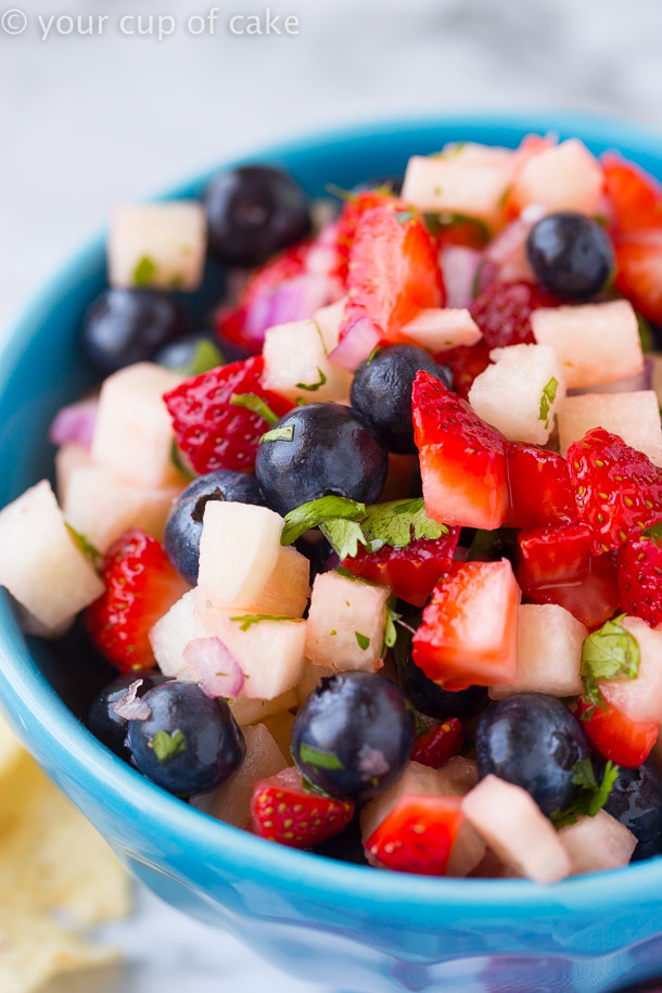 Red White and Blue Salsa Appetizer
