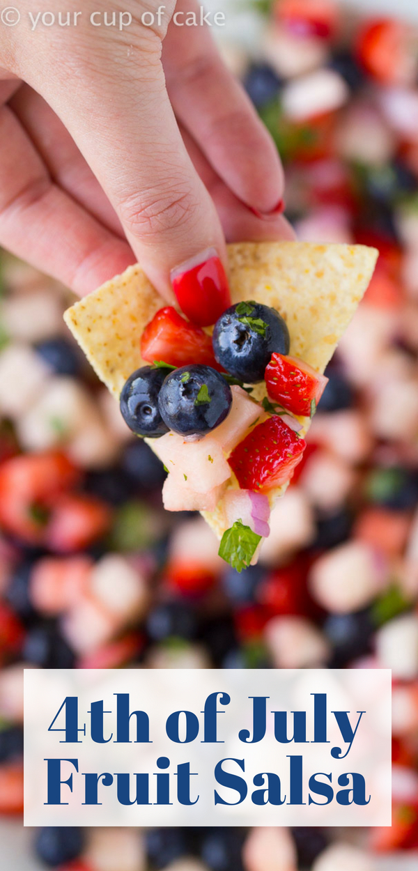 4th of July Fruit Salsa, red, white and blue party food!