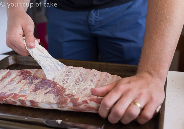 How to take of the membrane on ribs