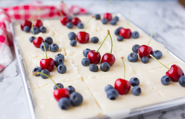 Red, White & Blue Lemon Texas Sheet Cake