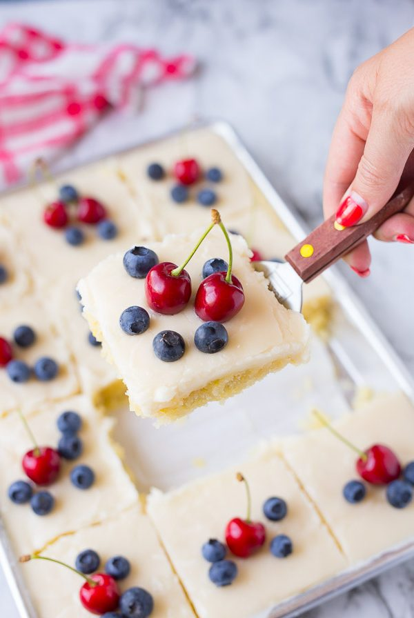 Red White and Blue Lemon Texas Sheet Cake