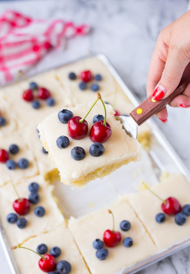 Red White and Blue Lemon Texas Sheet Cake