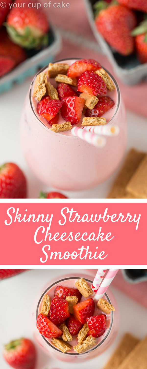 Skinny Strawberry Cheesecake Smoothie packed with protein from greek yogurt! Love this smoothie recipe!