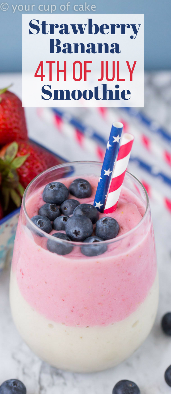 Strawberry Banana 4th of July Smoothie, how fun is this layered drink?!
