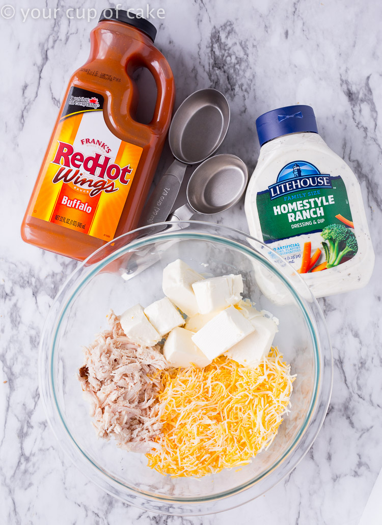 Ingredients for easy Cheesy Chicken Buffalo Dip!
