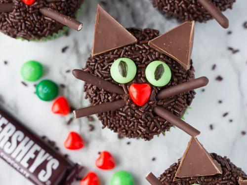 Pleasant Black Cat Halloween Cupcakes Your Cup Of Cake Personalised Birthday Cards Veneteletsinfo