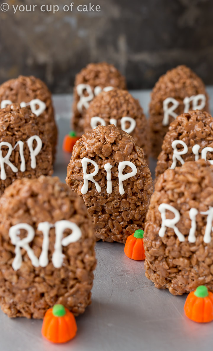 Tombstone Rice Krispie Treats for Halloween made with Nutella! YUM!