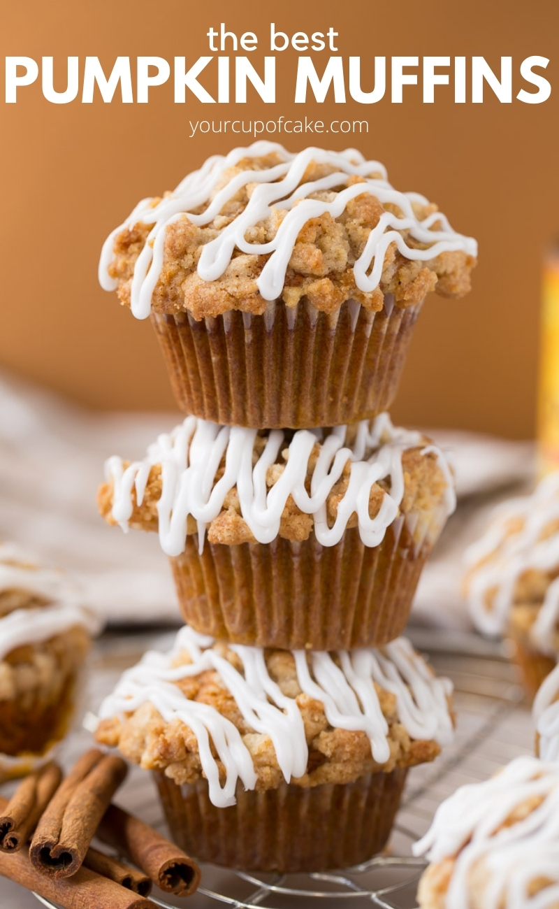 The best pumpkin muffins with iced crumb topping for fall