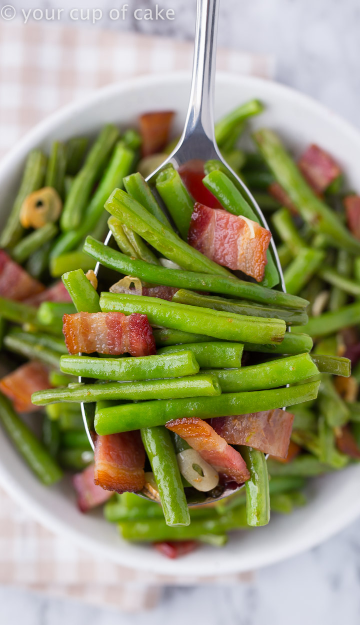 Bacon Garlic Green Beans Best Green Beans Ever Your Cup Of Cake
