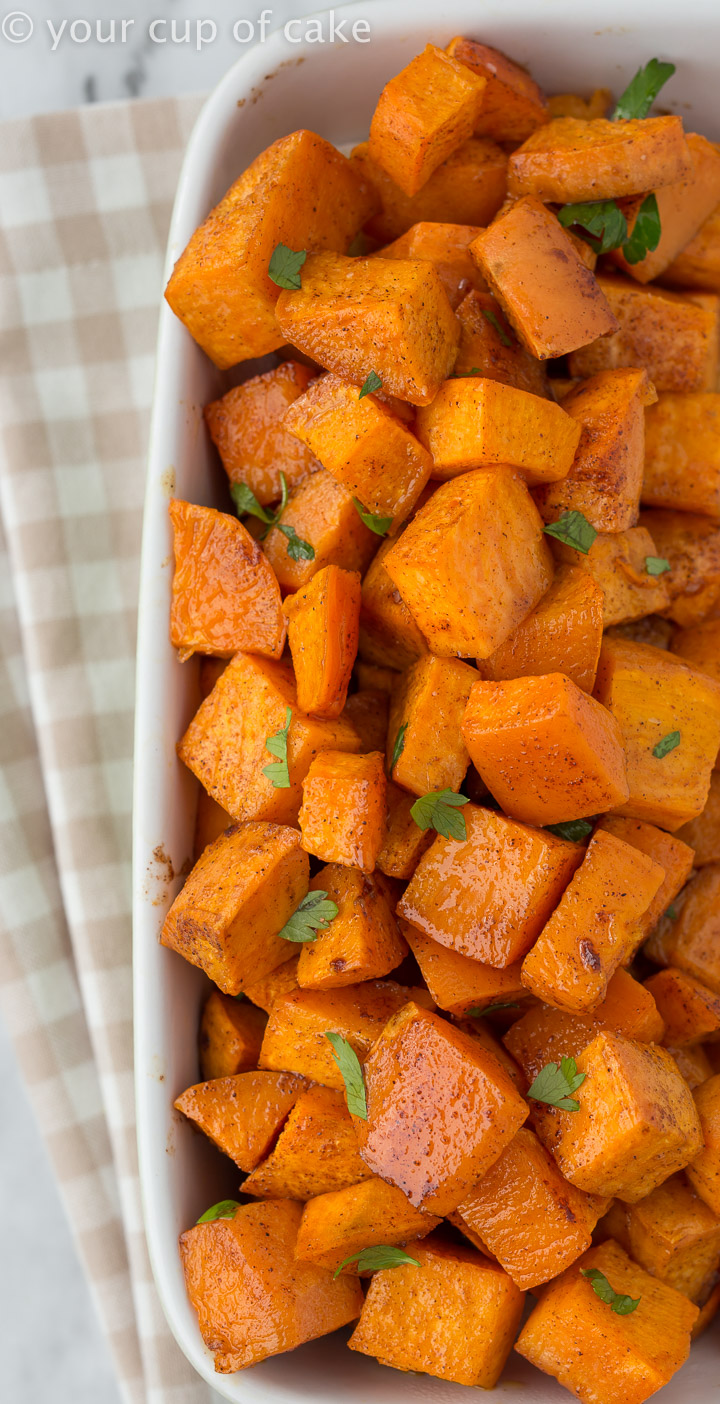 DELICIOUS Cinnamon Roasted Sweet Potatoes