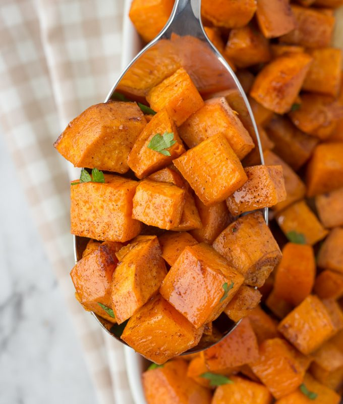 Cinnamon Roasted Sweet Potatoes for Thanksgiving