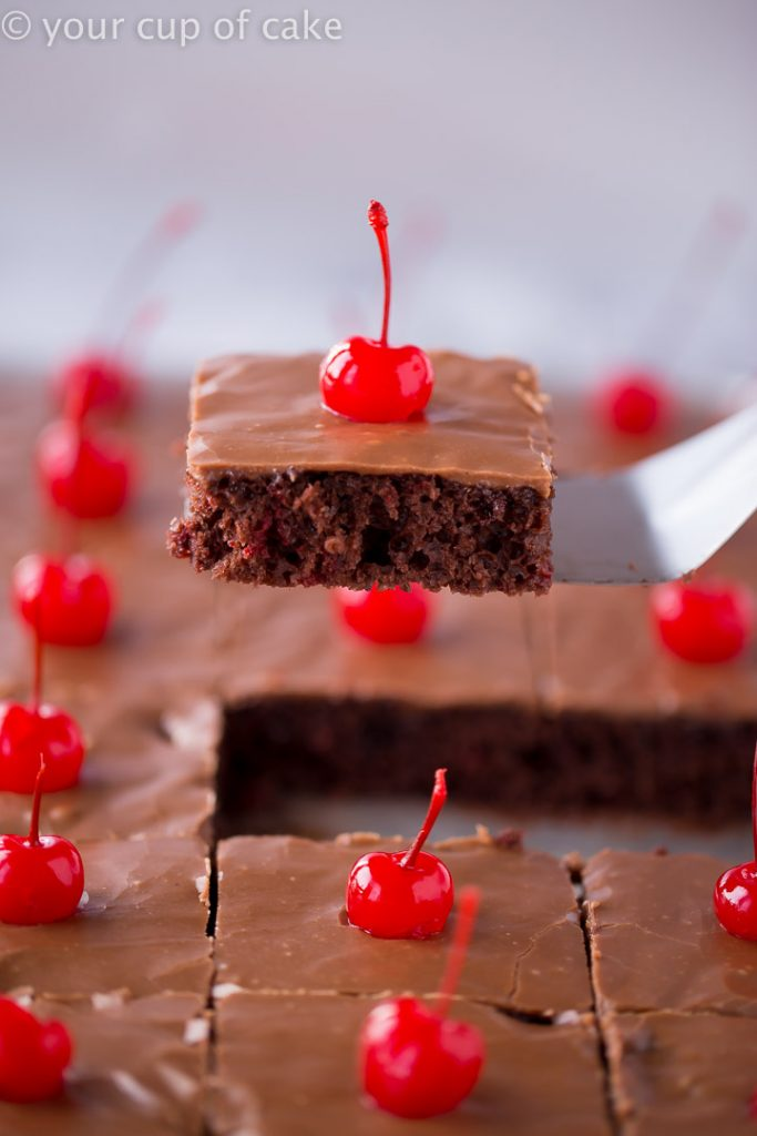 This Chocolate Cherry Texas Sheet Cake in AMAZING!