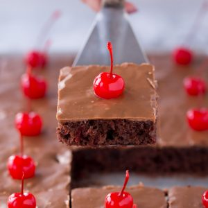 My family is OBSESSED with this Chocolate Cherry Texas Sheet Cake recipe!