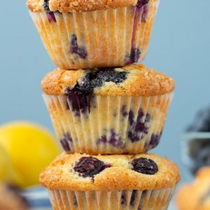 Super Easy Lemon Blueberry Muffins that taste like they came from a bakery!