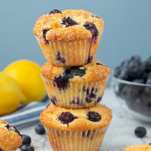 Small batch recipe for Easy Lemon Blueberry Muffins