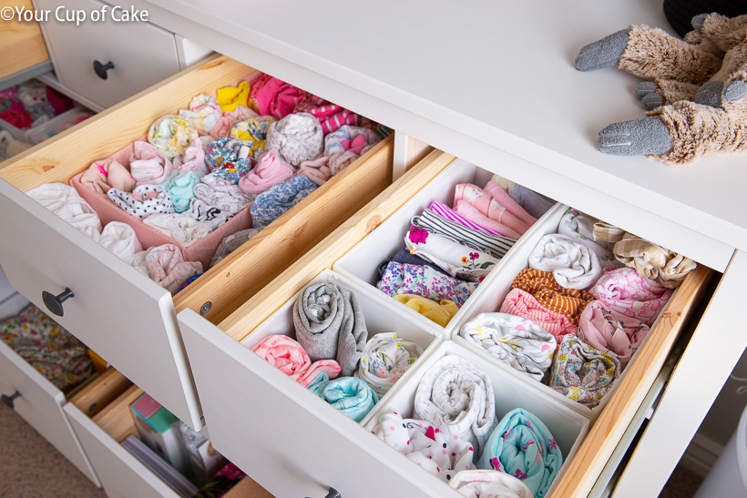 Nursery Storage using Ikea Dresser organizers